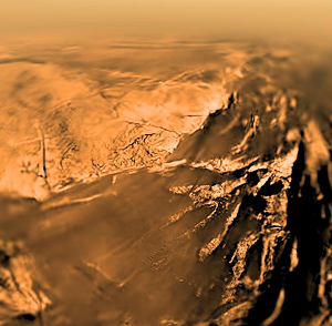 Panorama 'colorisé' de la surface de Titan
