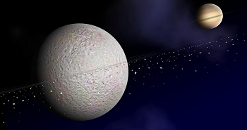 Artist's impression of the rings around Saturn's moon Rhea