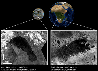 Ontario Lacus (230 x 75 km, Titan) and the Etosha pan (120 x 65 km, Namibia), two ephemeral lakes separated by 1.4 billion kilometres